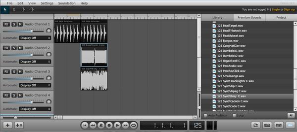 Звукозапись онлайн в программе Soundation